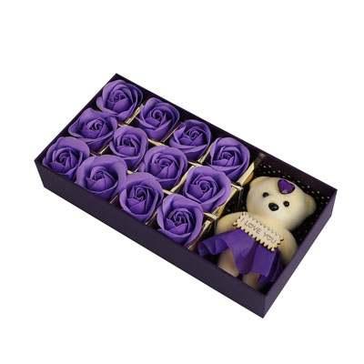 Purple Roses with Teddy Bear