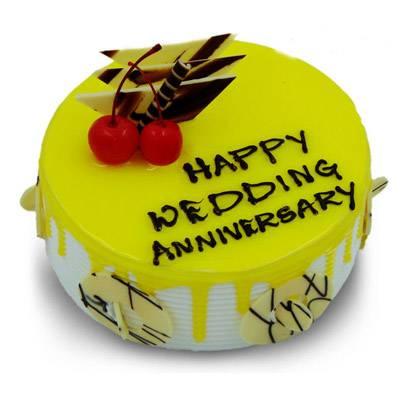 Happy Anniversary Pineapple Round Cake