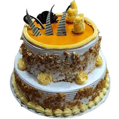 Eggless 2 Tier Butterscotch cake