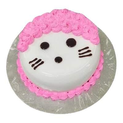 Eggless Pineapple Cat Fondant Cake