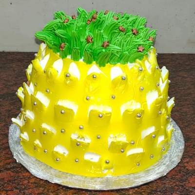 Eggless Pineapple Shape Cake