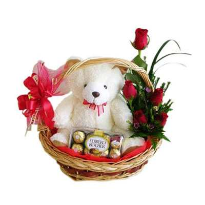Roses, Ferrero & Teddy Basket