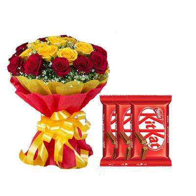 Red Yellow Bouquet & Kitkat