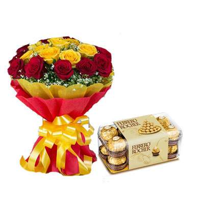 Red Yellow Bouquet with Ferrero Rocher