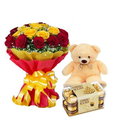 Red Yellow Bouquet with Teddy & Ferrero