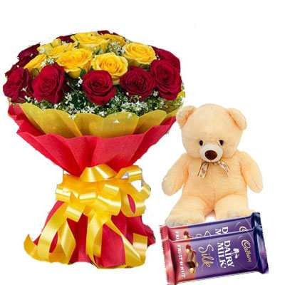 Red Yellow Bouquet with Teddy & Silk
