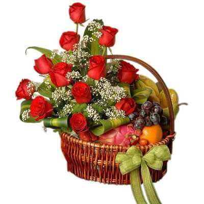 Decorated Fruit Basket with Red Roses
