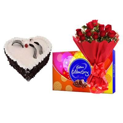 Eggless Heart Black Forest Cake, Red Roses & Celebration