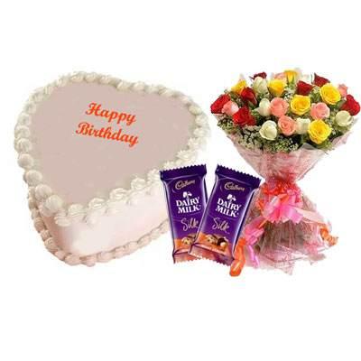 Eggless Heart Butterscotch Cake, Mix Roses & Silk