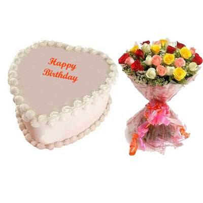 Eggless Heart Butterscotch Cake & Mix Roses