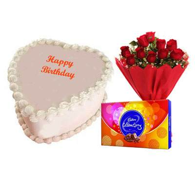 Eggless Heart Butterscotch Cake, Red Roses & Celebration