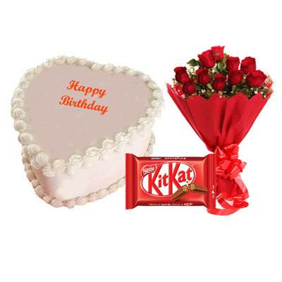 Eggless Heart Butterscotch Cake, Red Roses & Kitkat