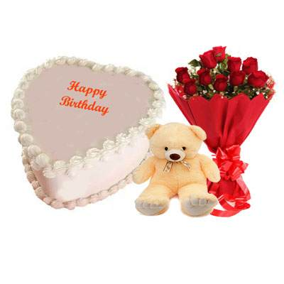 Eggless Heart Butterscotch Cake with Red Roses & Teddy