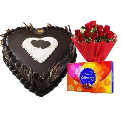 Eggless Heart Chocolate Cake, Red Roses & Celebration