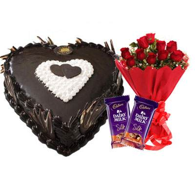 Eggless Heart Chocolate Cake, Red Roses & Silk