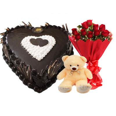 Eggless Heart Chocolate Cake, Red Roses & Teddy