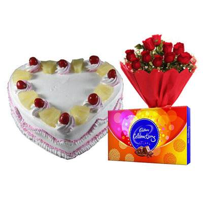 Eggless Heart Pineapple Cake, Red Roses & Celebration