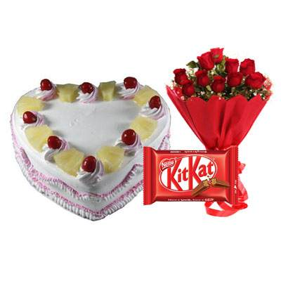 Eggless Heart Pineapple Cake, Red Roses & Kitkat