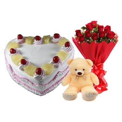 Eggless Heart Pineapple Cake, Red Roses & Teddy