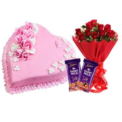 Eggless Heart Strawberry Cake, Red Roses & Silk