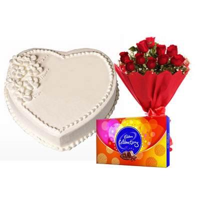Eggless Heart Vanilla Cake, Red Roses & Celebration