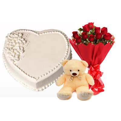 Eggless Heart Vanilla Cake, Red Roses & Teddy