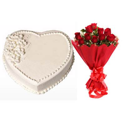 Eggless Heart Vanilla Cake & Red Roses