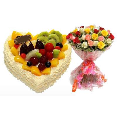 Fresh Fruits Heart Cake with Mix Roses