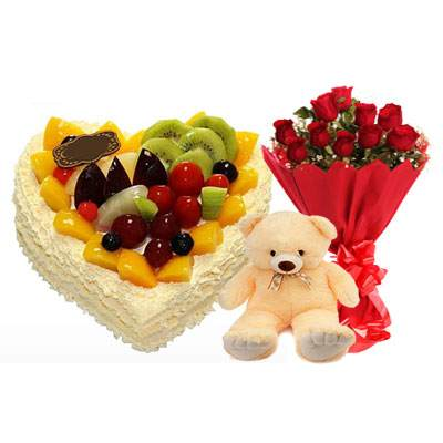 Fresh Fruits Heart Cake, Red Roses & Teddy
