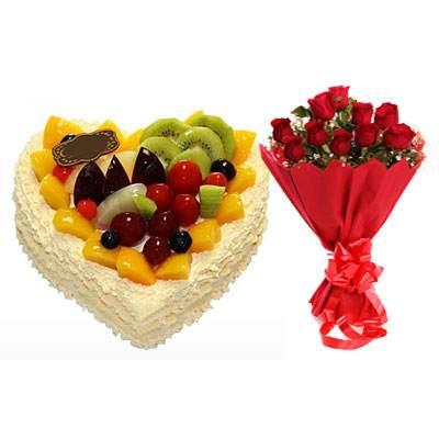 Fresh Fruits Heart Cake & Red Roses