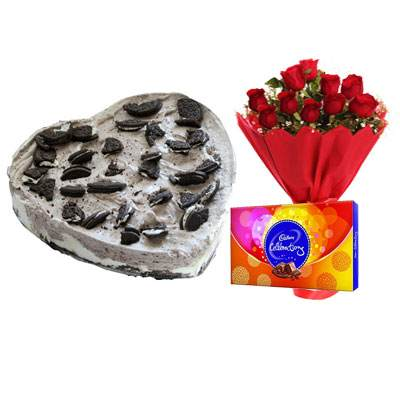 Heart Oreo Cake, Red Roses & Celebration