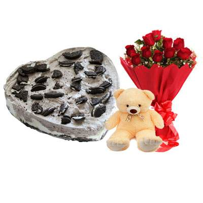 Heart Oreo Cake, Red Roses & Teddy