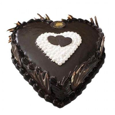 Eggless Heart Chocolate Cake