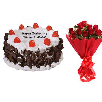 Black Forest Cake & Bouquet