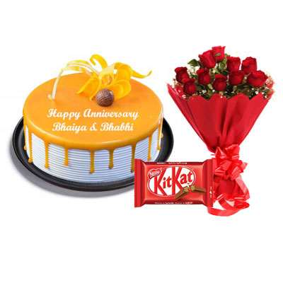 Butterscotch Cake, Bouquet & Kitkat