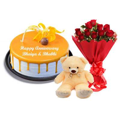Butterscotch Cake, Bouquet & Teddy