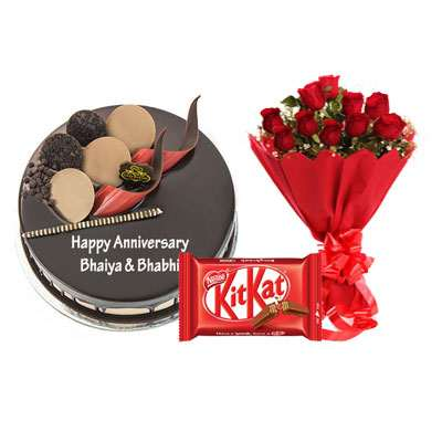 Chocolate Cake, Bouquet & Kitkat