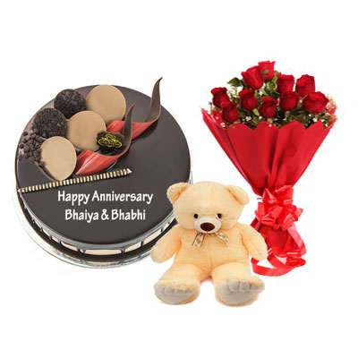 Chocolate Cake, Bouquet & Teddy