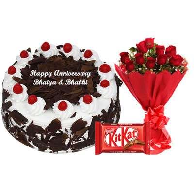 Eggless Black Forest Cake, Bouquet & Kitkat