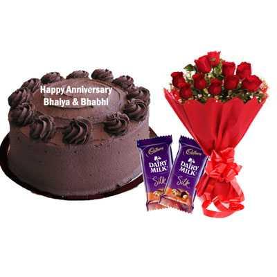 Eggless Chocolate Cake, Bouquet & Silk