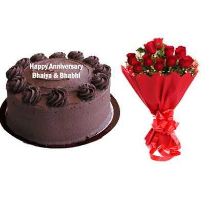 Eggless Chocolate Cake & Bouquet