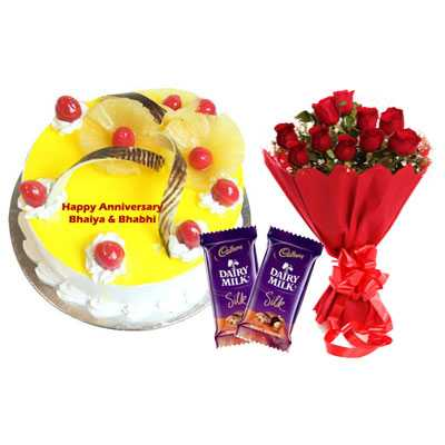 Eggless Pineapple Cake, Bouquet & Silk