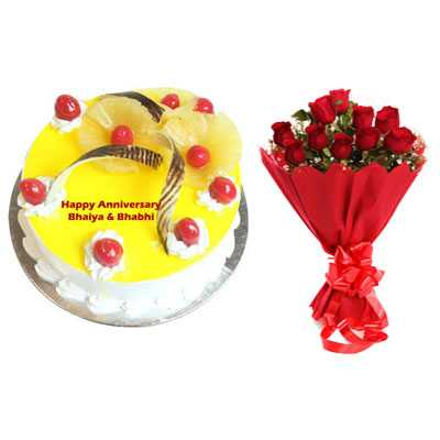 Eggless Pineapple Cake & Bouquet