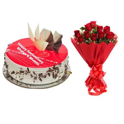 Eggless Strawberry Cake & Bouquet