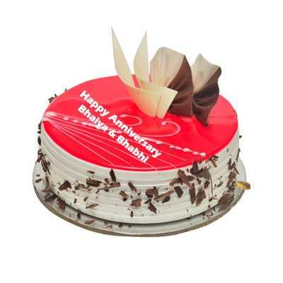 Anniversary Eggless Strawberry Cake