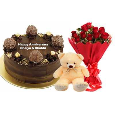 Ferrero Rocher Cake, Bouquet & Teddy