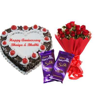 Heart Black Forest Cake, Bouquet & Silk