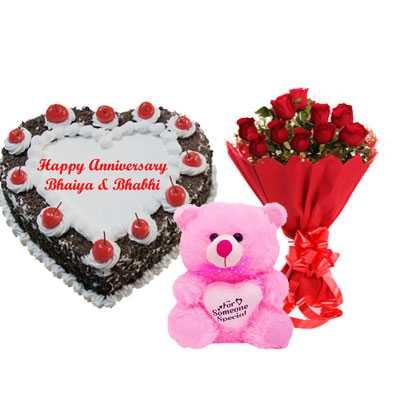 Heart Black Forest Cake, Bouquet & Teddy