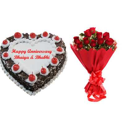 Heart Black Forest Cake & Bouquet