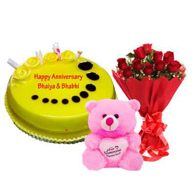 Pineapple Cake, Bouquet & Teddy